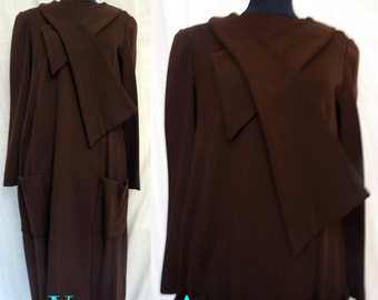 Rare Vintage 1960's Couture Wool Knit Dress by Teal Traina Size 8-10