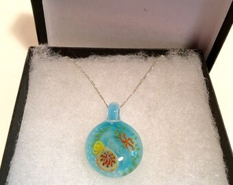 "Tide pool pendant on 18"" sterling siver chain"