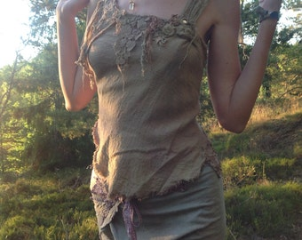 Organic cotton tattered earthy top shaman priestess elven forest game of thrones