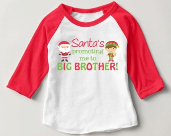 Personalized Santa's promoting me to BIG BROTHER! Red Baseball Raglan Shirt - Christmas Pregnancy Announcement Shirt