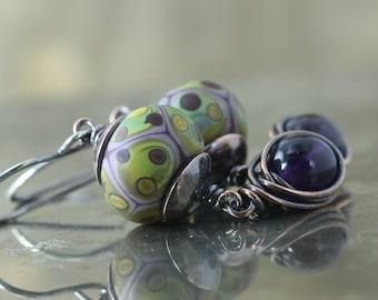 Amethyst Gemstone Earrings, February Birthstone, Colorful Lampwork Beads, Rustic Circle Earrings, Sterling Silver, Green Lavender