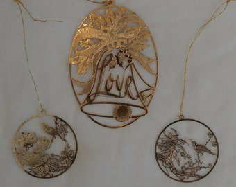 3 Vintage Brass with Gold Tone Christmas Ornaments, Hallmark Love and Birds