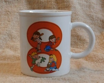 Now I am 8, Vintage Children's Mug, for Eight Year Old, Enesco 1980s