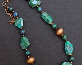 Chrysocolla and Copper Necklace with Rich Blue Green Brown Nuggets Organic Stones Copper Accents Gemstone Jewelry