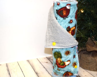 Reusable Paper Towels Eco-Friendly Snapping Un-Paper Towel - Roosters and Chickens Print Half Set of 6 - Ready To Ship