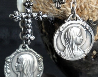 LOURDES Antique French Medal Earrings. Our Lady of Lourdes. Sterling Silver. Roses Motif. Mother of Pearl Rosary Beads. Fleur de Lis Crosses