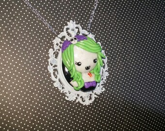 CLEARANCE half off Vampire lady cameo necklace.walking dead, living dead girl, rainbow hair, hair bows, skulls, stitches, cute, glitter,