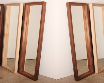 Floor Mirror With Solid Wood Frame in Walnut, Pecan or Oak