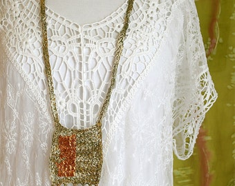 Long Woven Necklace - Copper - Boho Style Pendant - Crochet Jewelry - Fiber Art