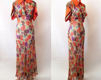 Exquisite 1930's Bias Cut Silk Chiffon Floral Print Gown/ Dress Old Hollywood Glamor Art deco Dress Size Small