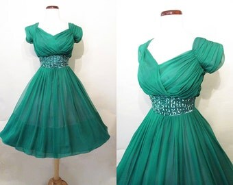 CLEARANCE Gorgeous 1950's Emerald Green Silk Chiffon Cocktail Dress w/ Shelf Bust and Sequins Rockabilly VLV Pinup Vixen Cupcake Size-Medium