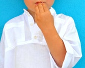 boys tunic shirt - white tunic shirt - Ready to Ship