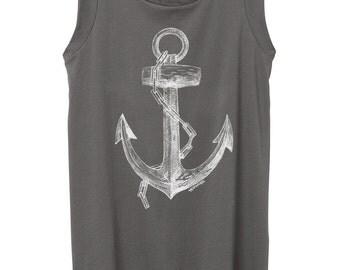 Womens Cap Sleeve Anchor - Hand drawn anchor print - top- grey - Alternative Apparel - illustration -  drawing - Small, Medium, Large, XL