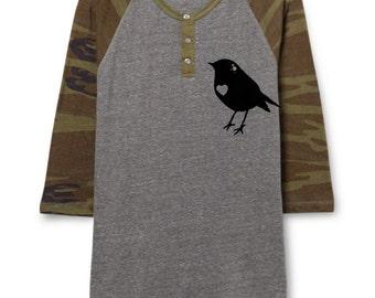 Bird Baseball Shirt -  Mens Shirt - Camo and Gray Raglan Baseball 3/4 Sleeve shirt - Alternative Apparel - Small, Medium, Large, Xl