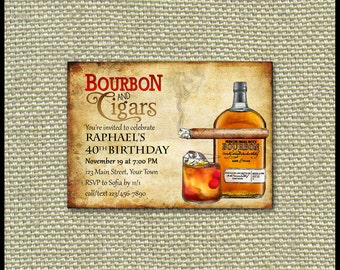Bourbon & Cigars Invitation / Milestone Birthday, Bachelor Party, Adult Invite / Corporate Event Fundraiser / Thank You Save the Date Banner