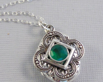 Emerald Locket,Locket,Silver Locket,Sterling Silver Locket,Sterling,Green,Green Locket,Birthstone Locket,May Birthstone,Emerald Birthstone,