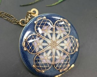 Mosaic locket -Vintage Ornate filigree Locket, Purple and white, mother day, Wedding Gift, Embellished Pendant on Antique brass Chain