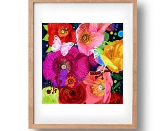 Wild spring. Flowers print, bohemian, folk, funky, naive, primitive.