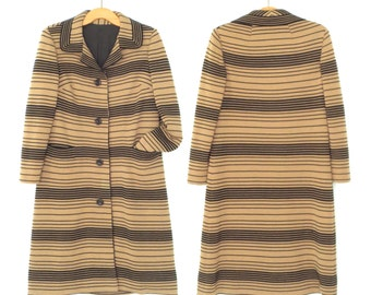 60s Wool Coat * Vintage 1960s Couture Knit Jacket * Striped Jacket * Large