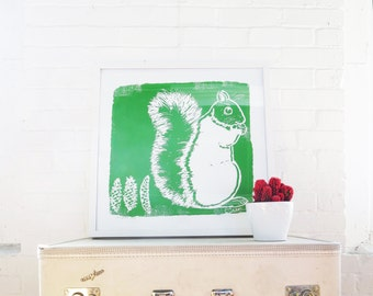 Green Squirrel signed Silk Screened Art Print on white Paper