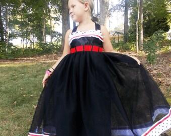 Cruella Deville Dress: black red & white polka dot, tutu dress, Halloween, birthday, vacation, adjustable, 101 dalmatians, villain