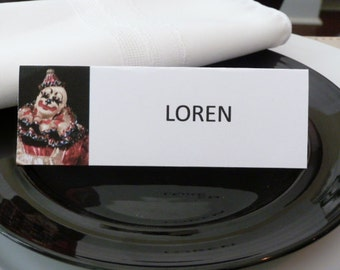 Festive Clown Place Cards /Name Cards/ Food Tents - Set of  6- Party Table Decoration