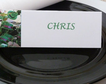 Green Irish Hats and Shamrocks Place Cards/ Name Cards/ Food Tents - Set of 6- Table Decoration