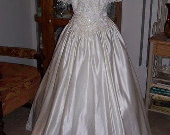 PLUS Size Wedding Dress Heavy Eggshell Satin with Embroidered Beaded Pearled and Sequined Applique Bodice Short Sleeves