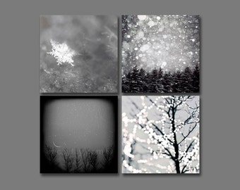 Christmas Decor, Gray Wall Art, Winter Print Set, 5x5 Prints, Rustic, Black and White Photography, Set of 4 Prints