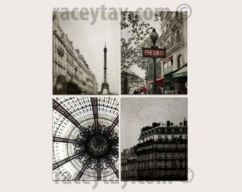 SALE, Neutral Paris Wall Decor, Eiffel Tower, Metro, Travel, Beige, Gray, Red, Architecture, Paris Photography, Save 50%