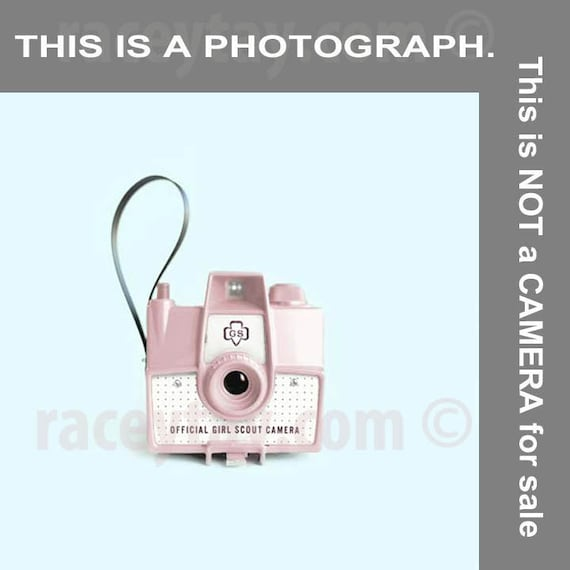 Camera Art, Pink Girl Scouts Camera Print, Blue, Pink, Pink Camera, Gift for Photographers