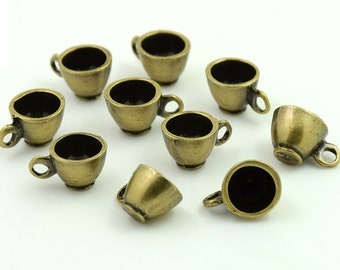 10 pcs. Zinc Antique Brass Coffee Cup Tea Cup Charms Decorations Findings 13x8 mm. Wa Br 138 354