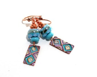 Tribal Glass Bead Earrings. Turquoise Tribal Boho Earrings. Dangle Earrings. Lampwork Jewelry.