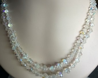 40s 50s Aurora Borealis Crystal Double Strand Necklace