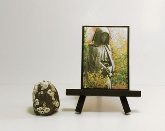 Religious statue altered art photo. Graveyard statue of a hooded monk in a cemetery garden. Pastel goth ACEO with magnet or easel option.