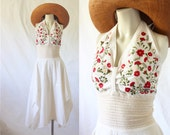 halter dress / crocheted lace & embroidery / 1970's