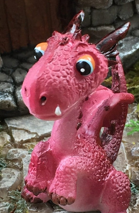 Mini Red Dragon Figurine, Fairy Garden Accessory, Garden Decor, Enchanted Story, Topper, Shelf Sitter, Style 4463