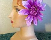 ATS Hair Flower Purple Peony swarovki rhinestone bellydance belly dance cabaret tribal burlesque
