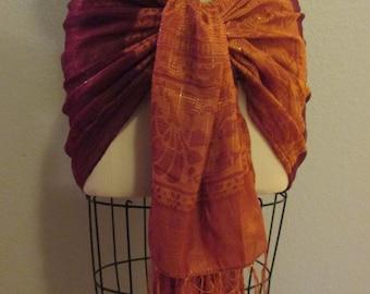 Rust Orange silk metallic fringed Hip Scarf shawl Bellydance belly dance tribal fusion cabaret ATS