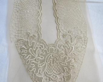Vintage OFF WHITE Dress Neckline Applique UNUSED Art Deco Nouveau Floral 1930's
