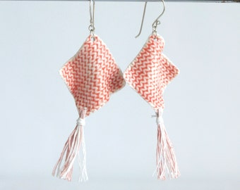 TASSEL earrings diamond knit white porcelain pink grey festival boho earrings 925 sterling silver linen tassel jewellery