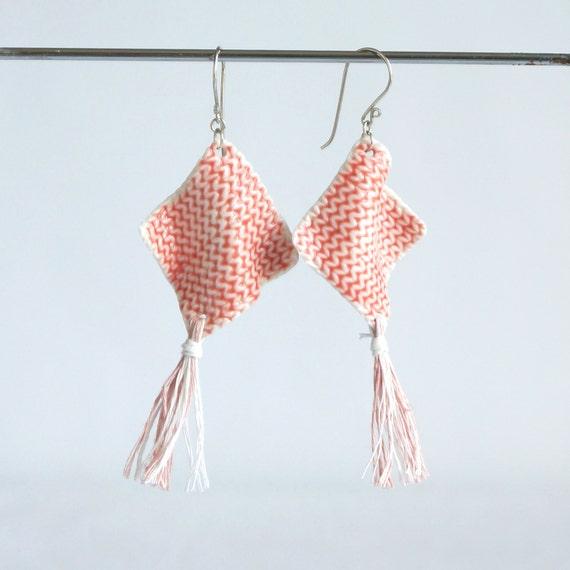 TASSEL earrings diamond knit white porcelain pink grey festival boho earrings 925 sterling silver linen tassel jewellery