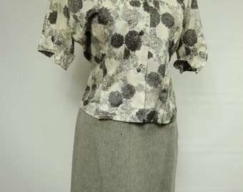 Vintage Grey Floral Blouse and Wool Skirt Set Womens Size Small