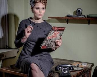 Dark Passage Wool Peplum Suit