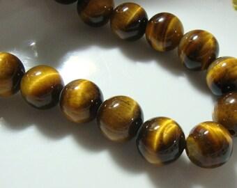 12mm, 1/2 Strand, Gorgeous Tiger Eye Smooth Round Beads