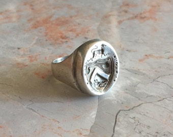 Antique Sterling Silver Wax Seal Ring
