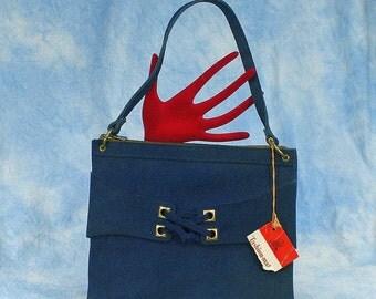 Vintage 60s 70s Sandler Mod Blue Suede Hand Bag, Deadstock, NWT, NOS