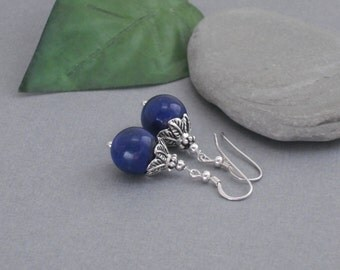 Earrings Lapis Lazuli Sterling Silver Dangle Earrings, Blue Stone Earrings With Optional Amethyst Accents