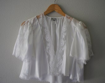 Vintage MISS DIOR White Satin Capelet Lace Top (s-m)