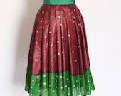 Size UK 12 (US 8 - 10) Silk Batik Autumn Shades Pleated Skirt - Made by Dig For Victory